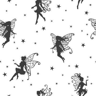 Fototapete Nahtloses magisches Muster mit Feen und Sternen.