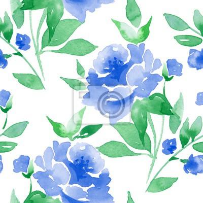f24d01759423 Fototapete Nahtloses mit Blumenmuster. Aquarell Hintergrund mit blauen  Blumen 3