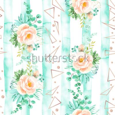 Fototapete Nahtloses mit Blumenmuster des Aquarells in den weichen rosa tadellosen Farben. Geometrischer Hintergrund mit Blumenblumensträußen. Rosen, Sukkulenten, Eukalyptus verlassen, Rosagold, Illustration