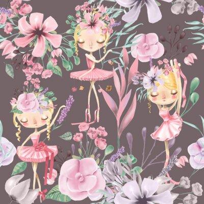 Fototapete Nahtloses mit Blumenmuster des schönen Aquarells mit netten Ballettmädchen, Ballerinen. Abstrakte Rosen, Pfingstrose, Flieder und Zweige auf dunklem Hintergrund