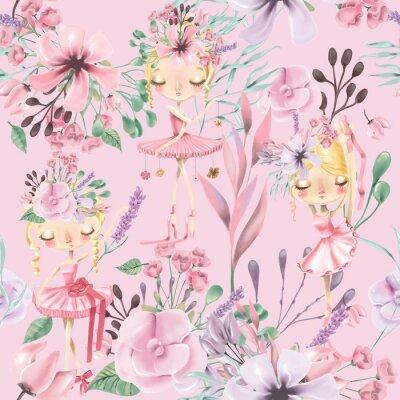 Fototapete Nahtloses mit Blumenmuster des schönen Aquarells mit netten Ballettmädchen, Ballerinen. Abstrakte Rosen, Pfingstrose, Flieder und Zweige auf rosa Hintergrund