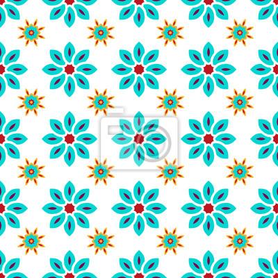 021f7c16d267 Fototapete Nahtloses mit Blumenmuster mit blauen Blumen auf weißem  Hintergrund.