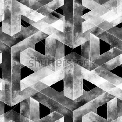 Fototapete Nahtloses Muster aus einer optischen Täuschung. Aquarell ungewöhnliche Textur. Hand gezeichnete Illustration für Tapete, Hintergrund und Fahne.