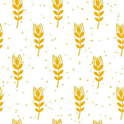 Fototapete Nahtloses Muster der Bäckerei mit Weizen auf weißem Hintergrund.  Ornament für Textil und Verpackung.  Vektor.