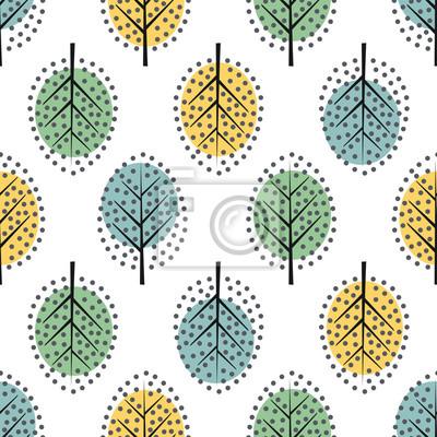 Fototapete Nahtloses Muster der dekorativen Bäume der skandinavischen Art. Netter Naturhintergrund mit bunten Blättern. Herbstwald Vektor-Illustration. Design für Textilien, Tapeten, Stoff.