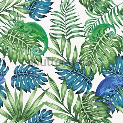 Fototapete Nahtloses Muster der exotischen blauen und grünen tropischen Blätter des Naturchamäleons auf dem Vektorweißhintergrund