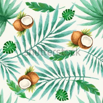 Fototapete Nahtloses Muster der exotischen Früchte, Aquarell, Vektorillustration.