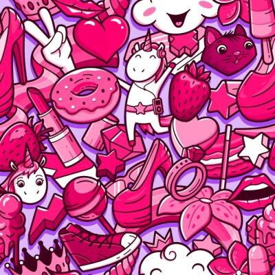 Fototapete Nahtloses Muster der Graffiti mit mädchenhaften Artgekritzeln. Vektorhintergrund mit verrückten Elementen der kindischen Mädchenenergie. Modische lineare Artcollage mit seltsamen Straßenkunstikonen.
