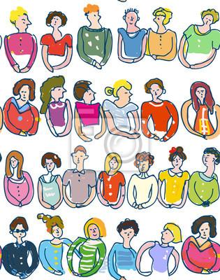 Nahtloses Muster der Gruppe von Personen, flüchtige Art. Vektor-Grafik-Illustration