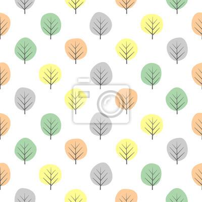 Fototapete Nahtloses Muster der kleinen dekorativen Bäume. Netter Naturhintergrund mit Pastellblättern. Herbstwald Vektor-Illustration. Design für Textilien, Tapeten, Stoff.