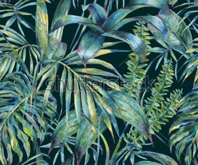 Fototapete Nahtloses Muster der natürlichen Blätter exotisches Aquarell, grüne tropische Blätter, Farne, dichter Dschungel, handgemalte botanische Sommerillustration auf schwarzem Hintergrund