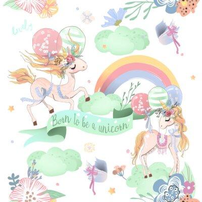 Fototapete Nahtloses Muster der netten Einhörner. Kindermuster mit Einhörnern, Blumen, Ballonen, Wolken und Regenbogen