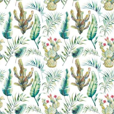 Fototapete Nahtloses Muster der SommerPalme, des Kaktus und der Banane verlässt. Grüne Niederlassungen des Aquarells und blühender Succulent auf weißem Hintergrund. Exotisches Tapeten Design