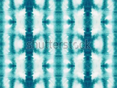 Fototapete Nahtloses Muster der Vektorbindungsfärbung. Hand gezeichneter Shibori-Druck. Strukturierter japanischer Hintergrund der Tinte. Moderne Batiktapetenfliese. Aquarell endlosen Hintergrund.