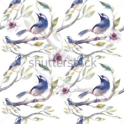 Fototapete Nahtloses Muster des Aquarellfrühlinges mit Vögeln, Baumasten, Blumen und Blättern. Handgemalte botanische Tapetenschablone mit blauen Vögeln auf weißem Hintergrund. Vintage natürliche Textur