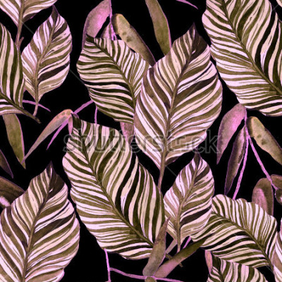 Fototapete Nahtloses Muster des Aquarells mit Blättern. Vintage-Textur.