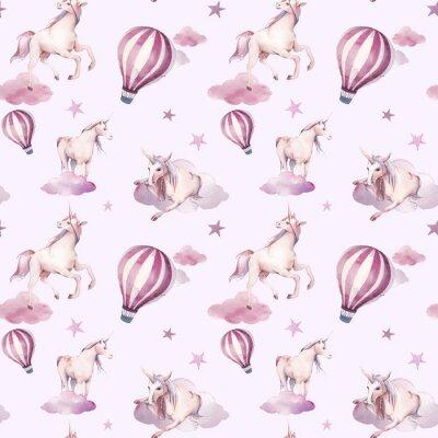 Fototapete Nahtloses Muster des Aquarells mit Fliegeneinhorn, Wolken, spielt die Hauptrolle. Baby-Stil-Tapeten-Design. Hand gezeichnete Märchen, die Hintergrund wiederholen
