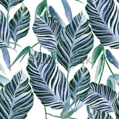 Fototapete Nahtloses Muster des Aquarells mit tropischen Blättern: Palmen, Monstera, Maracuja. Wunderschöner Allover Print mit handgezeichneten exotischen Pflanzen. Botanischer Entwurf der Badebekleidung.