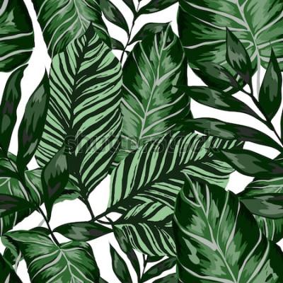 Fototapete Nahtloses Muster des Aquarells mit tropischen Blättern: Palmen, Monstera, Maracuja. Wunderschöner Allover Print mit handgezeichneten exotischen Pflanzen. Botanischer Entwurf der Badebekleidung. Vektor