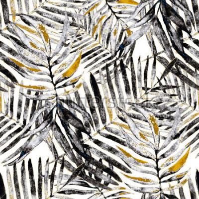 Fototapete Nahtloses Muster des Aquarells mit tropischen Blättern: Palmen, Monstera, Passionsfrucht. Wunderschöner Allover-Print mit handgezeichneten exotischen Pflanzen. Bademode botanisches Design.