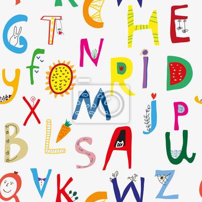 Fototapete Nahtloses Muster des lustigen Alphabets für Kinder, niedliches deisgn.  Vektorgrafikillustration