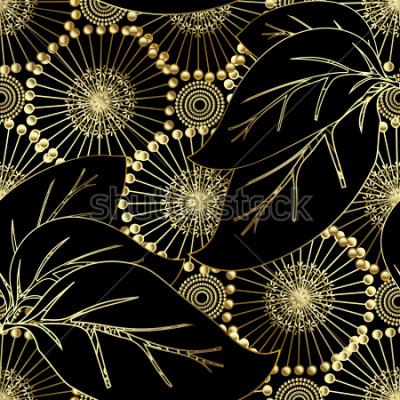 Fototapete Nahtloses Muster des modernen otnate Blumenvektors 3d. Abstrakter dekorativer Flourishhintergrund. Schöner Löwenzahn des Gold 3d blüht, große Blätter, dekorative Verzierungen der Weinlese. Oberfläche