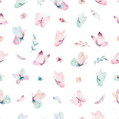 Fototapete Nahtloses Muster des netten Aquarelleinhorns mit Blumen. Magische Einhornmuster der Kindertagesstätte. Prinzessin Regenbogen Textur. Trendy rosa Cartoon Pony Pferd.