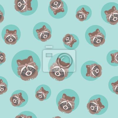 427ea0d42d67cc Fototapete Nahtloses Muster des netten Waschbären. Vektor Hintergrund. Es  kann als Tapete
