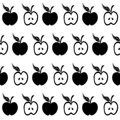 Fototapete Nahtloses Muster des schwarzen weißen Apfels