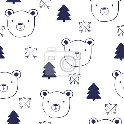 Fototapete Nahtloses Muster des Skizzengekritzels mit Bären. Gezeichnete Illustration des Vektors Hand.