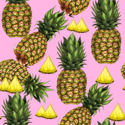 Fototapete Nahtloses Muster des Sommers mit von Hand gezeichneter Ananas auf einem rosa Hintergrund. Vektor-Illustration.
