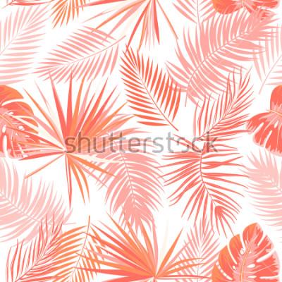 Fototapete Nahtloses Muster des tropischen Vektors in lebender korallenroter Farbe. Haupttrendkonzept. Botanik-Design, Dschungelblätter der Palme.