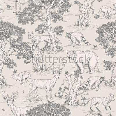 Fototapete nahtloses Muster des Weinlesevektors von veranschaulichten wilden Tieren des Waldes im Wald