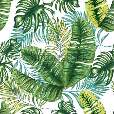 Fototapete Nahtloses Muster einer tropischen Palme, der Dschungelblätter und der Blumen. Handzeichnung. Vektor Blumenmuster.