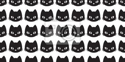 Fototapete Nahtloses Muster Kätzchen der Katze lokalisierte Gekritzelvektor-Tapetenhintergrund