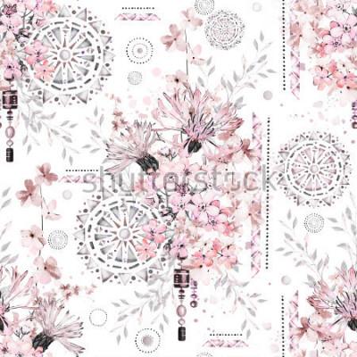 Fototapete nahtloses Muster mit Aquarellblumen und strukturierten Verzierungen - Mandala. Abstrakter Blumenhintergrund. Fliese mit wilder Blume der Wiese und geometrischer Illustration.