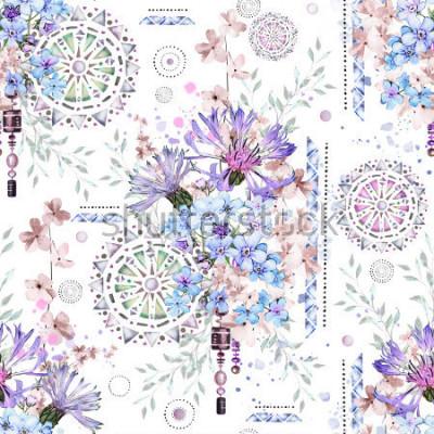 Fototapete nahtloses Muster mit Aquarellblumen und strukturierten Verzierungen - Mandala. Abstrakter Blumenhintergrund. Fliese mit wilder Blume der Wiese und geometrischer Illustration. Kornblumen, ich-nicht
