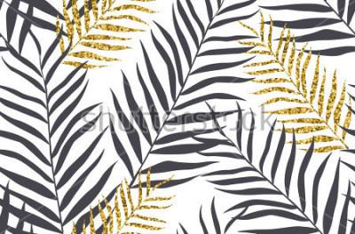 Fototapete Nahtloses Muster mit Banane und goldenen Palmblättern im Vektor