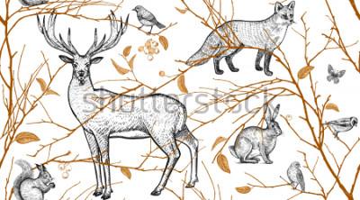 Fototapete Nahtloses Muster mit Baumasten, Waldtieren und Vögeln. Hirsch, Fuchs, Hase, Eichhörnchen. Vektorabbildungkunst. Natürliches Design für Stoffe, Textilien, Papier, Tapeten. Gold Schwarz, Weiß. Jahrgang.