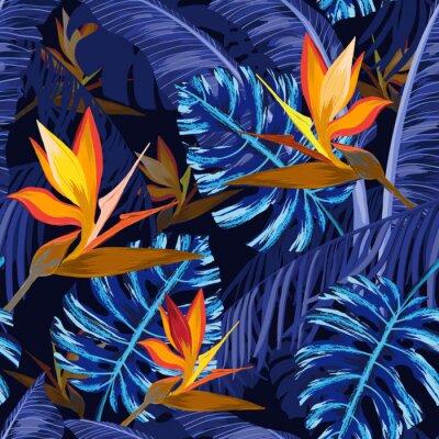 Fototapete Nahtloses Muster mit blauen tropischen Blumen