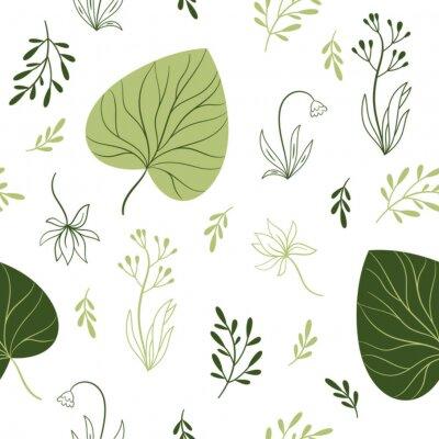 Fototapete nahtloses Muster mit Blumen, floralen Elementen, Stoffdesign