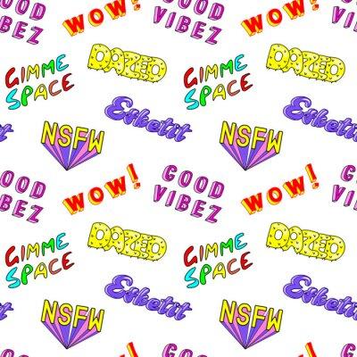 "Fototapete Nahtloses Muster mit bunten Comic-Phrasen, Wörtern: ""Dazed"", ""Gimme Space"", ""Esketit"", ""Wow"", ""NSFW"" usw. Modepatches, Abzeichen, Anstecknadeln, Aufkl"