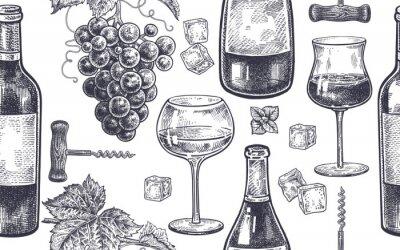 Fototapete Nahtloses Muster mit dem Weintrinken.