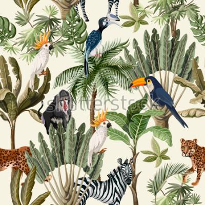 Fototapete Nahtloses Muster mit exotischen Bäumen und Tieren.
