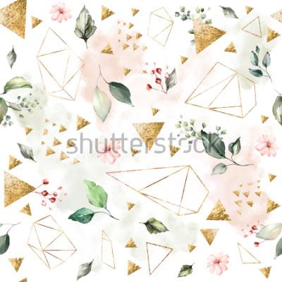 Fototapete Nahtloses Muster mit Federblättern und -blumen. Hand gezeichneter Hintergrund. Muster mit geometrischer polygonaler Form. Botanische Fliese.