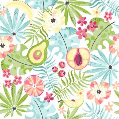 Fototapete Nahtloses Muster mit Früchten und Blumen