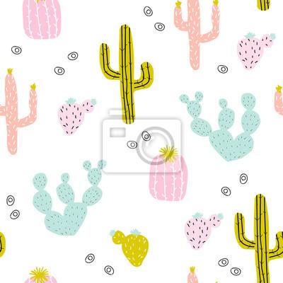 Fototapete Nahtloses Muster mit Hand gezeichnetem Kaktus. Niedlicher bunter Druck. Vektor-Illustration.