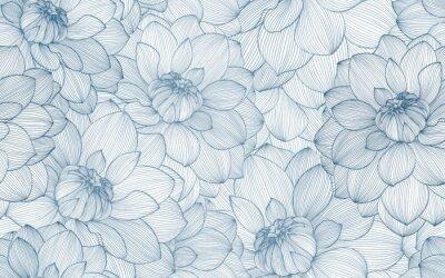 Fototapete Nahtloses Muster mit Hand gezeichneten Dahlienblumen.