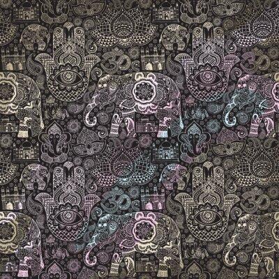 Fototapete Nahtloses Muster mit indischen Miniaturen im Stil mehendi lackiert