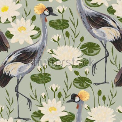 Fototapete Nahtloses Muster mit Kranvogel und Seerose. Orientalisches Motiv. Gezeichnete Vektorillustration der Weinlese Hand in der Aquarellart